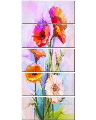 Design Art 'Bouquet of Red White Flowers' 5 Piece Painting Print on Wrapped Canvas Set PT15051-401V