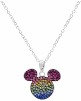 Disney's Mickey Mouse Sterling Silver Crystal Pendant Necklace, Women's, multicolor