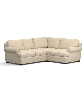 Townsend Roll Arm Upholstered Left Arm 3-Piece Corner Sectional, Polyester Wrapped Cushions, Performance Everydayvelvet(TM) Buckwheat