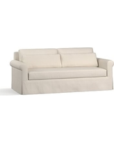 "York Roll Arm Slipcovered Deep Seat Sofa 84"" with Bench Cushion, Down Blend Wrapped Cushions, Performance Twill Cream"