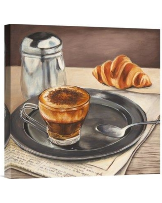 """East Urban Home 'Espresso and News' Oil Painting Print URBR6966 Size: 18"""" H x 18"""" W Matte Color: No Matte Format: Unframed/Canvas"""