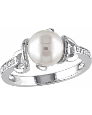 Stella Grace Sterling Silver Freshwater Cultured Pearl & Diamond Accent Ring, Women's, Size: 7, White
