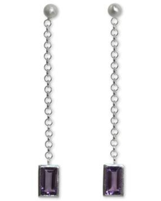 Artisan Crafted Sterling Silver and Amethyst Dangle Earrings
