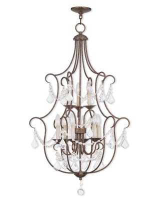 Bayfront 9 - Light Candle Style Chandelier with Crystal Accents
