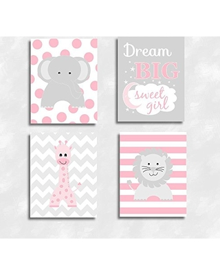 Cadenrosscanvas Baby Nursery Decor Canvas Wall Art Personalize Name Safari Animals Dream Sweet Pink Set Of 4 From