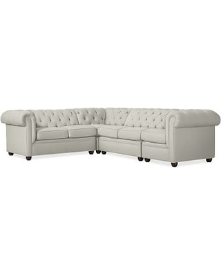 Chesterfield Upholstered Left Arm 4-Piece Corner Sectional, Polyester Wrapped Cushions, Basketweave Slub Oatmeal