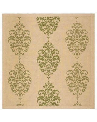 """Safavieh Courtyard Inell Boho Indoor/ Outdoor Rug (6'7"""" x 6'7"""" Square - Natural/Olive)"""