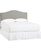 Raleigh Upholstered Camelback Full Low Headboard with Pewter Nailheads, Premium Performance Basketweave Light Gray