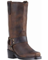 Women's Dan Post Gaucho Nutty Cowboy Boot with Harness by Haband, Brown Size 8 M