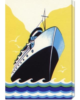 Global Gallery 'Steamship Cruise Liner Boom Label' by Retro Travel Painting Print on Wrapped Canvas GCS-376449-2030