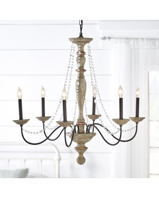 Downes 6 - Light Candle Style Classic Chandelier Beaded Accents