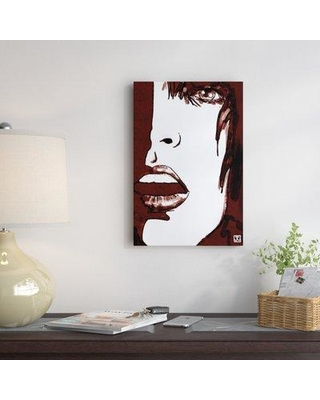 """East Urban Home Stare In Red Painting on Wrapped Canvas ESRB5397 Size: 18"""" H x 12"""" W x 0.75"""" D"""