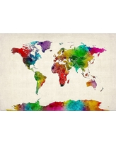 'Watercolor World Map Ii' by Michael Tompsett Ready to Hang Canvas Wall Art, Multi-Colored