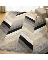 George Oliver Charters Towers Modern Chevron Plush Ivory Area Rug Ozn2593 Size Rectangle 5