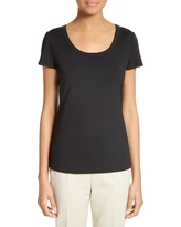 Women's Lafayette 148 New York Scoop Neck Cotton Tee, Size X-Large - Black