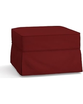 Buchanan Slipcovered Ottoman, Polyester Wrapped Cushions, Twill Sierra Red