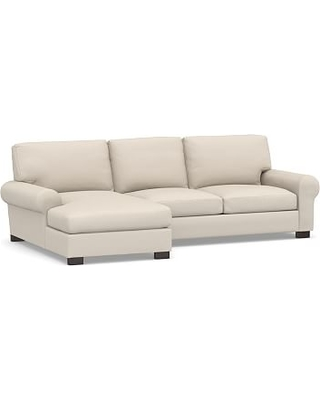Turner Roll Arm Upholstered Left Arm 2-Piece Sectional with Chaise, Down Blend Wrapped Cushions, Performance Brushed Basketweave Oatmeal