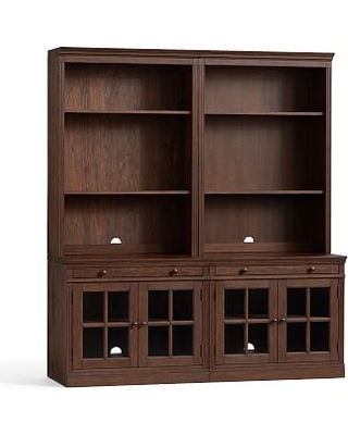 """Livingston Bookcase with Glass Cabinets, Brown Wash, 70""""L x 81""""H"""