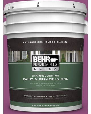 BEHR Premium Plus Ultra 5 gal. #P110-7 Xoxo Semi-Gloss Enamel Exterior Paint and Primer in One
