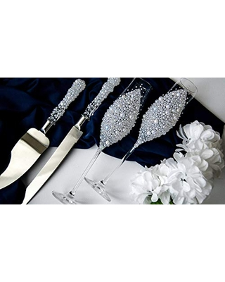 New Deal For Pearl Toasting Glasses And Cake Server Set White Wedding Flutes Engraved Cake Cutting Set Personalized Serving Set Wedding Toast Flute Set Of 4
