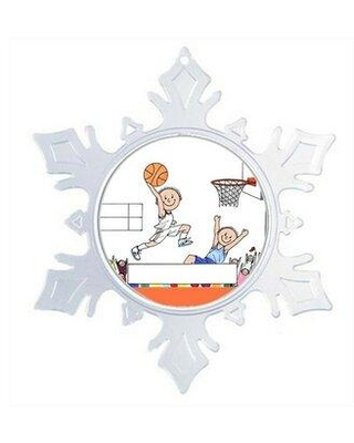 The Holiday Aisle® Personalized Friendly Folks Cartoon Snowflake Basketball Player Christmas Holiday Shaped Ornament X112615462