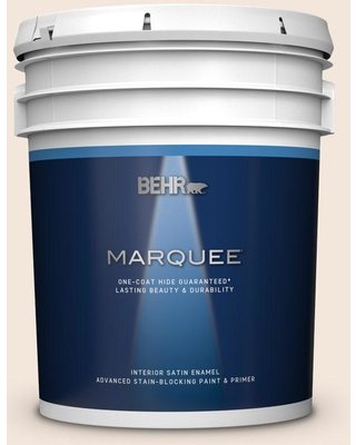 BEHR MARQUEE 5 gal. #ECC-55-2 Adobe White Satin Enamel Interior Paint and Primer in One
