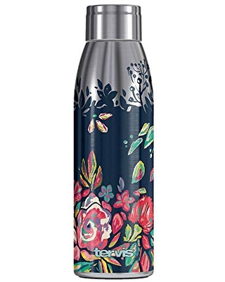 Tervis Live Bold Bouquet Double-Walled Insulated Tumbler, 17oz Water Bottle, Stainless Steel