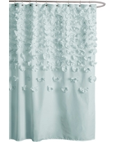 Lush D©cor Lucia Scattered Flower texture Shower Curtain, Light Blue