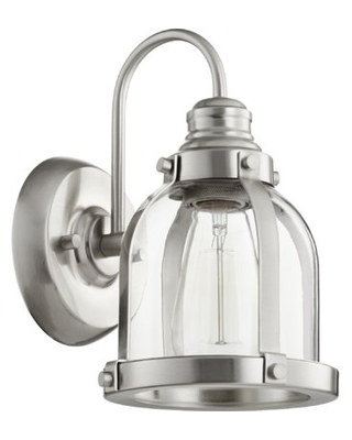 Douglas Forge 1 - Light Dimmable Armed Sconce Breakwater Bay Finish: Satin Nickel