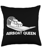 Funny Airboat Boating Swamp Boat Boaters Clothes Cool Gift for Women Mom Airboat Racing Aircraft Boat Throw Pillow, 18x18, Multicolor