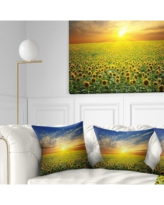 Shop Designart Beauty Sunset Over Sunflowers Field Floral Throw Pillow Square 18 In X 18 In Medium