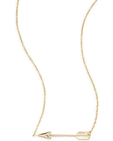 14K Yellow Gold Arrow Pendant Necklace