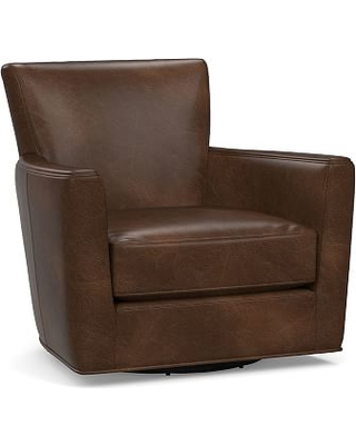 Irving Square Arm Leather Swivel Armchair, Polyester Wrapped Cushions, Vintage Cocoa