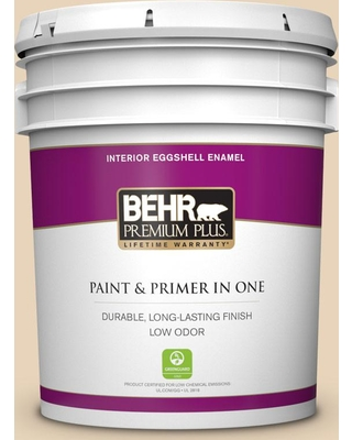 BEHR PREMIUM PLUS 5 gal. #S260-1A Cake Crumbs Eggshell Enamel Low Odor Interior Paint and Primer in One
