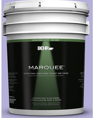 BEHR MARQUEE 5 gal. #630B-4 Freesia Purple Semi-Gloss Enamel Exterior Paint and Primer in One