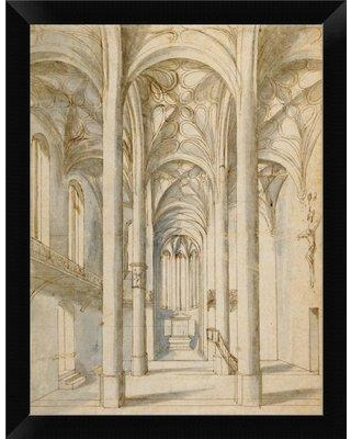 "East Urban Home 'Interior of a Gothic Church 1629' Framed Graphic Art Print EASN8848 Size: 12"" H x 9"" W Format: Black Framed"