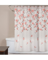 Coral (Pink) Garden Floral 72 in. Polyester Shower Curtain