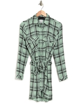 KNOWONECARES Printed Waist Tie Shirt Dress, Size Small in Sage Black at Nordstrom Rack