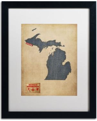 "Trademark Art 'Michigan Map Denim Jeans Style' by Michael Tompsett Framed Graphic Art MT0485-B1 Matte Color: White Size: 20"" H x 16"" W"