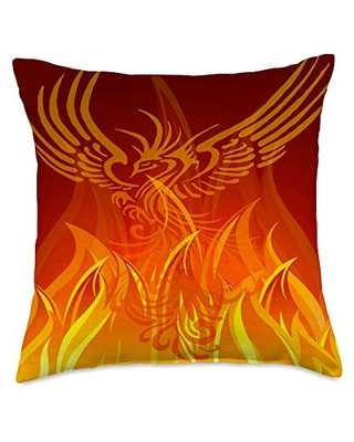 taiche Inspiring Rebirth Of Phoenix Bird From Flames Throw Pillow, 18x18, Multicolor