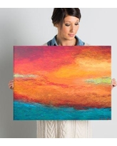 """Zipcode Design 'Lake Reflections' Painting Print on Wrapped Canvas ZIPC1806 Size: 24"""" H x 18"""" W"""