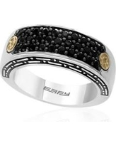 Effy Silver/Gold Men's Sterling Silver and 18k Yellow Gold Black Sapphire Ring