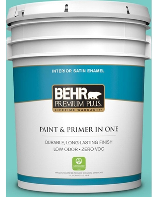 BEHR Premium Plus 5 gal. #bic-39 Blue Green Gem Satin Enamel Low Odor Interior Paint and Primer in One