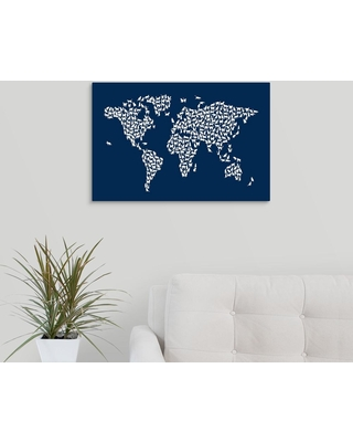 """GreatBigCanvas 24 in. x 16 in. """"Cats Map of the World, Navy"""" by Michael Tompsett Canvas Wall Art, Multi-Color"""