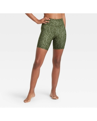 """Women's Contour Power Waist High-Rise Shorts 7"""" - All in Motion Olive Green M"""