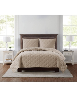 King 3pc Everyday 3D Puff Quilt Set Khaki - Truly Soft