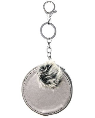 Round Pom Pom Coin Purse By Bead Landing™, Gray Metallic | Michaels®