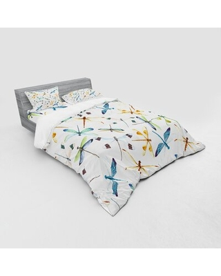 Dragonfly Moth Butterfly Like Bugs In Watercolor Print Modern Minimalist Design Duvet Cover Set East Urban Home Size: Queen Duvet Cover + 3 Additional