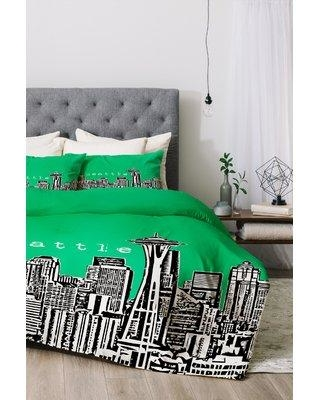 East Urban Home Seattle Duvet Cover Set EUNH6030 Color: Green Size: Twin/Twin XL