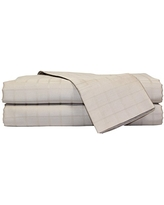 Devonshire Collection of Nottingham 450 Thread Count 1-Inch Square Window Pane Set with Solid Hem, Extra Soft-Breathable & Cool Sheets-Hypoallergenic, Taupe, Queen